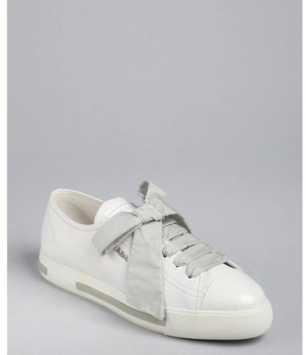 Prada Sport white leather and nylon laces cap toe sneakers