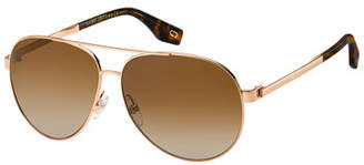 Marc Jacobs Mirrored Metal Aviator Sunglasses, Yellow/Brown