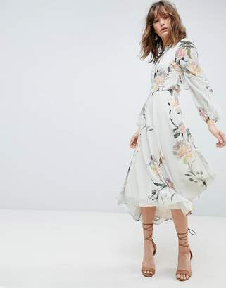 Hope And Ivy Hope & Ivy Long Sleeve Printed Dress With Lace Trim And Ruffle Open Back Detail