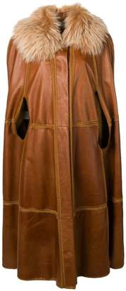 Alberta Ferretti long fur collar poncho coat