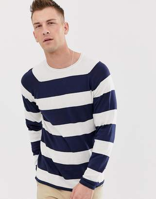 ONLY & SONS striped knitted long sleeve top in white
