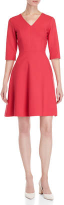 Carolina Herrera Fuchsia V-Neck Fit & Flare Dress