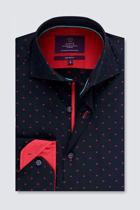 Next Mens Hawes And Curtis Navy And Fuchsia Woven Design Cuff Shirt