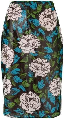 Diane von Furstenberg floral printed pencil skirt