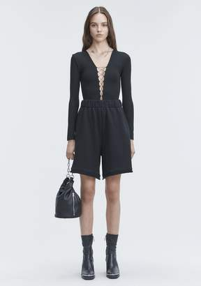 Alexander Wang LACE UP LONG SLEEVE BODYSUIT TOP