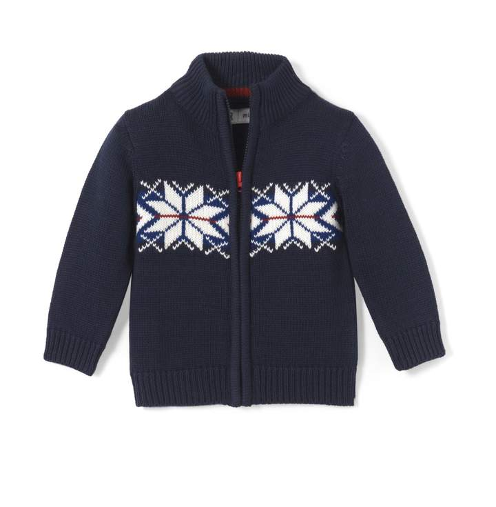 La Redoute Collections High Neck Jacquard Cardigan, 1 Mth-3 Years