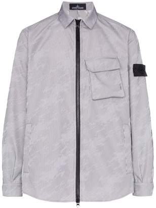 Stone Island Shadow Project lenticular zip-up shirt jacket