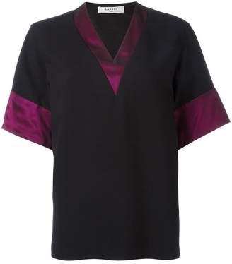 Lanvin block trim V neck T-shirt