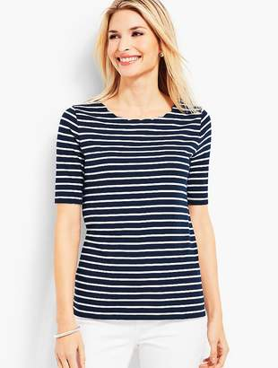 Talbots Scallop-Neck Elbow-Sleeve Tee-Stripe