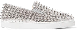 Christian Louboutin Roller Boat Spiked Metallic Textured-leather Slip-on Sneakers - Silver
