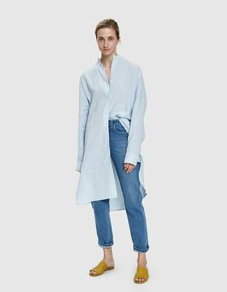 Amomento Standing Collar Linen Dress in Sky Blue