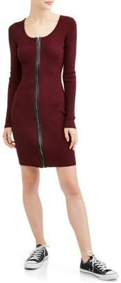 Say What Long Sleeve Full Zip Bodycon Dress with PU Leather Trim
