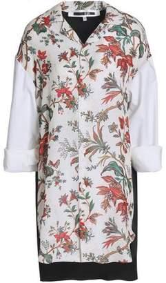 McQ Paneled Printed Crepe Mini Dress