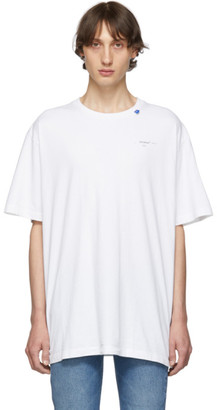 Off-White Off White White and Silver Oversized Unfinished T-Shirt
