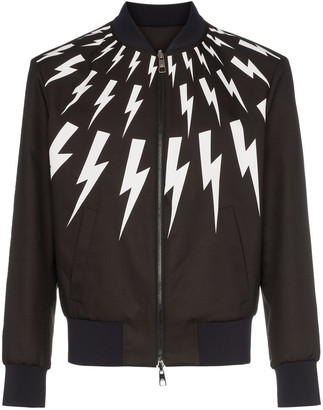 Neil Barrett lightning bolt print reversible bomber jacket
