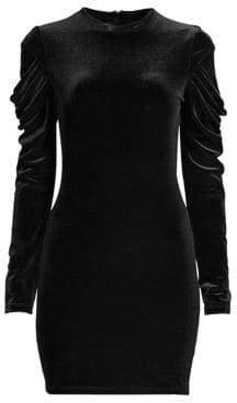 Black Halo Tannah Velvet Ruched Sleeve Dress