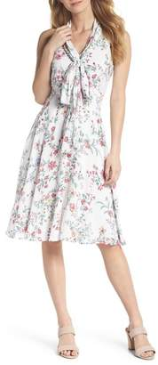 Gal Meets Glam Alexis Delicate Blossom Print Tie Neck Dress (Nordstrom Exclusive)
