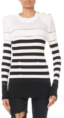 Balmain Striped Button-Shoulder Sweater