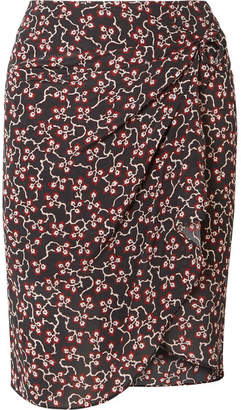 Isabel Marant Livia Draped Printed Silk Crepe De Chine Mini Skirt - Black