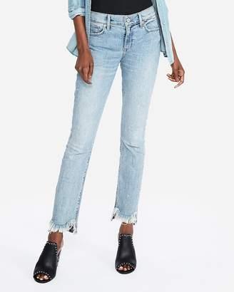 Express Mid Rise Original Light Wash Frayed Super Skinny Jeans