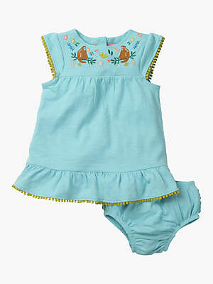 Boden Mini Baby Jungle Embroidered Dress and Knickers Set, Mineral Blue Monkeys