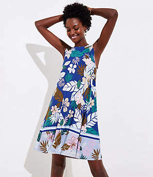 LOFT Petite Tropical Floral Flounce Sleeveless Swing Dress
