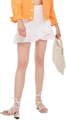 Topshop Broderie Ruffle Miniskirt