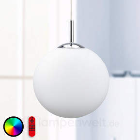 Stilvolle RGB-LED-Pendelleuchte Lola-Bolo mit FB