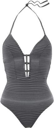 Jets Illusions Embellished Metallic Striped Halterneck Swimsuit