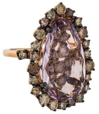 Suzanne Kalan 18K Rose de France Amethyst & Diamond Cocktail Ring