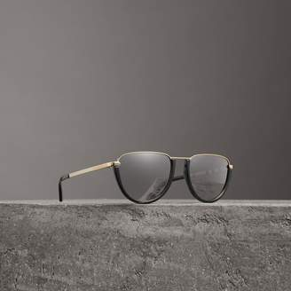 Burberry Half Moon Pilot Round Frame Sunglasses, Black