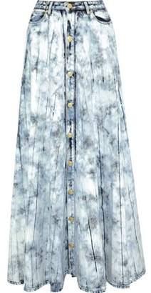 Pierre Balmain Button-Detailed Bleached Denim Maxi Skirt