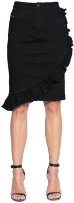Ruffled Stretch Cotton Denim Skirt $148 thestylecure.com