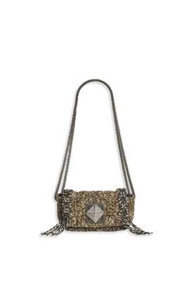 Sonia Rykiel Le Copain Tweed Fringe And Chain Bag