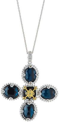 Jude Frances Lacey Cross Blue Quartz Pendant Necklace