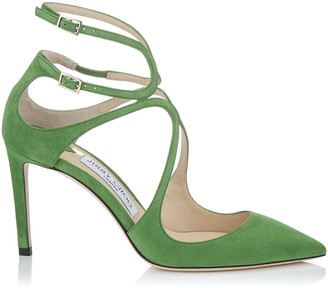Jimmy Choo LANCER 85 Lime Suede Pointy Toe Pumps