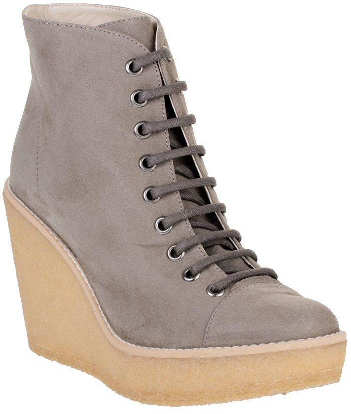 Stella McCartney Rubber wedge faux suede ankle boots
