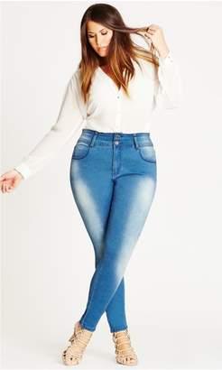 City Chic Citychic Asha Short Highrise Skinny Jean - Light Denim