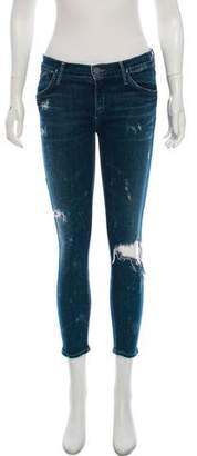 Gold Sign Mid-Rise Distressed Skinny Jeans