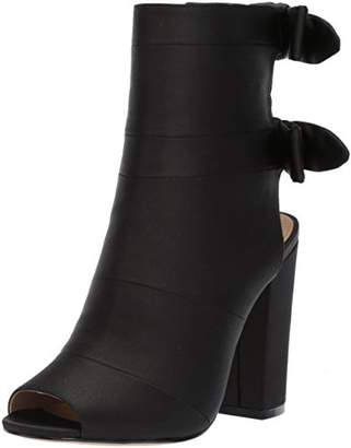 The Fix Women's Phoebe Open Toe Block Heel Bootie with Bow Detail Ankle Boot 8.5 B US
