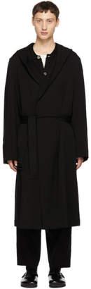 Yohji Yamamoto Black Gabardine Hooded Coat