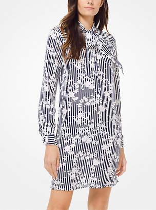 MICHAEL Michael Kors Floral Striped Silk-Georgette Shirtdress