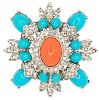 Kenneth Jay Lane Small Turquoise And Coral Cluster Pin