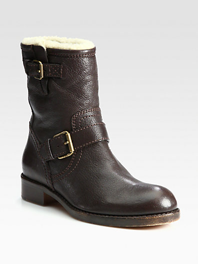 Marc by Marc Jacobs Leather and Shearling Motorcycle Boots