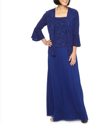 Onyx Nites 3/4 Bell Sleeve Evening Gown with Jacket