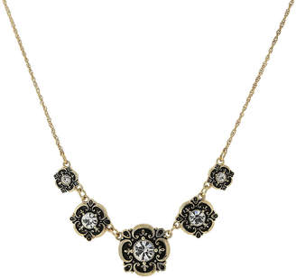 1928 Jewelry Gold-Tone Crystal Bib Necklace