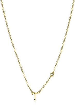 """Syd by SE """"T"""" Initial Necklace with Diamond Bezel"""