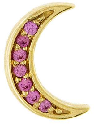 Andrea Fohrman Mini Pink Sapphire Crescent Moon Single Stud Earring - Yellow Gold