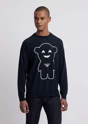 Emporio Armani Crew-Neck Sweater With Embroidered Manga Bear
