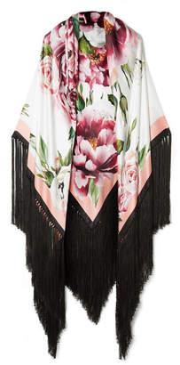 Dolce & Gabbana Fringed Floral-print Silk-blend Satin Wrap - Black
